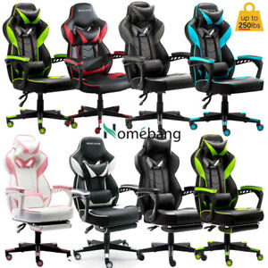 Gaming Chair Racing Office Desk Chair Super Elasticity With Footrest Swivel Pu