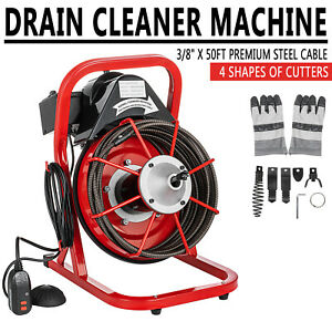 50 X 3 8 Drain Cleaner Cleaning Machine W foot Switch Plumbing Sewer Snake