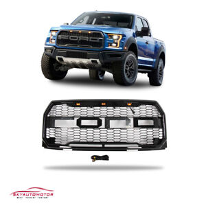 Fits Ford F150 2015 2017 Front Upper Grille Raptor Style With Lamp Gloss Black
