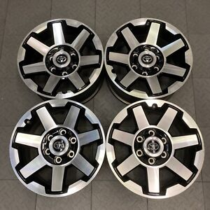 75154 17 Toyota Tacoma 4runner Fj Cruiser Black Machinded Factory Wheels Rims