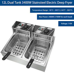 3400w 12l Dual Tank Stainsteel Electric Deep Fryer Commercial Restaurant Kitchen