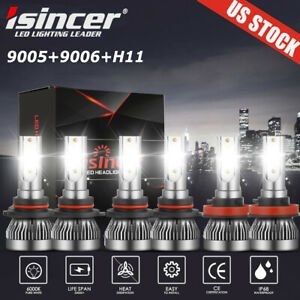 9005 9006 H11 Led Combo Headlight Fog Light Kit High Low Beam Bulb White 6000k