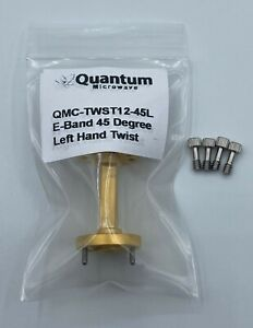 Wr 12 E band 45 Degree Waveguide Left Hand Twist Gold Plated Quantum Microwave