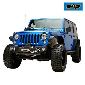 Eag Front Winch Bumper Stubby W Fog Light Hole Fit For 07 18 Jeep Jk Wrangler