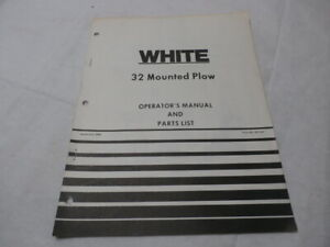 White Farm Equipment 32 Mounted Plow Operator s Manual Parts List