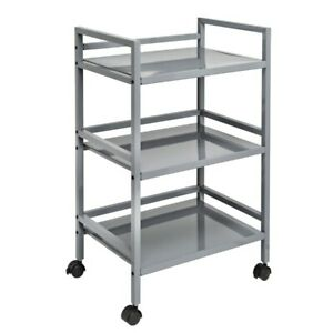3 tier Steel Rolling Storage Cart Closet Organizer With 2 Locking Wheels Gray