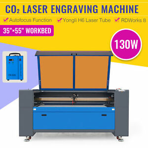 130w Laser Engraving And Cutting Machine With 55x35 Inch Electric Lift Chiller
