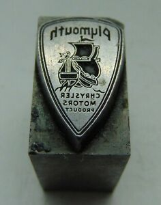Printing Letterpress Printers Block All Lead Plymouth Chrysler Motor Product