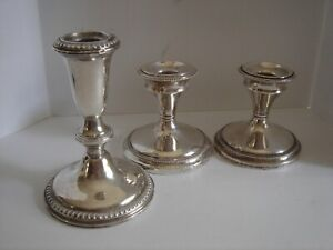 Scrap Weighted 925 Sterling Silver Lot Of 3 Pieces 734 Grams Candle Holders