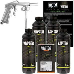 U Pol Raptor Black Urethane Spray On Truck Bed Liner Kit W Free Spray Gun 4 Lit