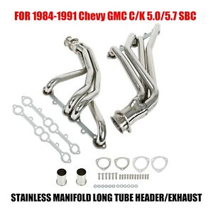 For 84 91 Chevy Gmc 5 0 5 7 Sbc Stainless Manifold Long Tube Header Exhaust