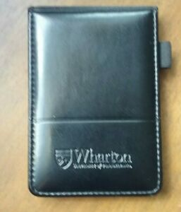 Wharton Black Leather Memo Book Note Pad Holder Cover Case Sleeve 3 1 2 x5