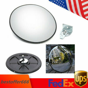 30cm Traffic Convex Mirror Wide Angle Safety Mirror Driveway Outdoor Security