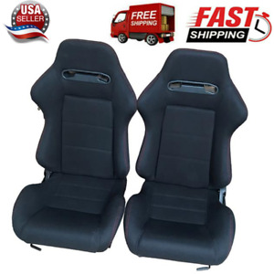 1 Pair Universal Reclinable Bucket Seats Chairs Sport Racing Slider Adjustable
