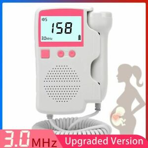 Fetal Heart Rate Sound Detector Monitor Pregnant Lcd Display No Radiation 3 0mhz