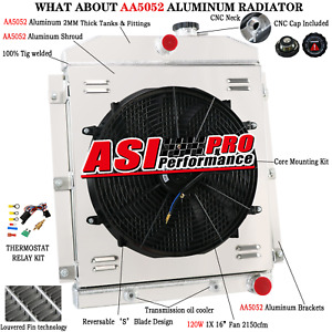 4 Row Aluminum Radiator shroud Fan For 1947 1954 Chevy Truck 3100 3600 3700 3800