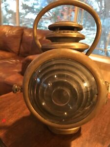 1909 13 Brass Model T Era Cowl Light C M Hall Lamp Co Model 115 W Handle