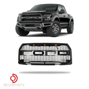 Fits Ford F150 2015 2017 Front Upper Grille With Amber Lamp Mesh Gloss Black
