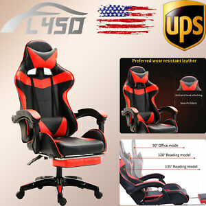 Leather Gaming Chair W footrest Swivel Racing Computer Lumbar Massage Chairs Set