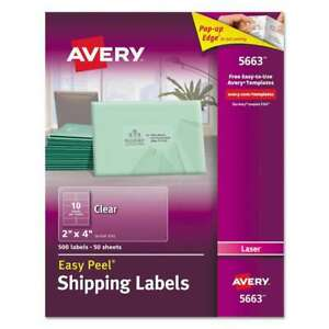 Avery Clear Easy Peel Shipping Labels Laser 2 X 4 500 box 072782056636
