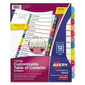 Avery Ready Index Table Of Contents Dividers Multicolor Tabs 1 072782118433