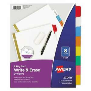 Avery Write Erase Big Tab Paper Dividers 8 tab Letter 072782230791
