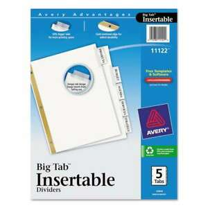 Avery Insertable Big Tab Dividers 5 tab Letter 072782111229