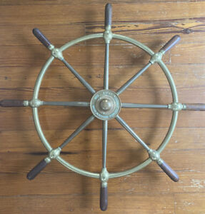 Vintage Brown Bros Co Ltd Rosebank Ironworks Edinburgh Ship S Wheel 30