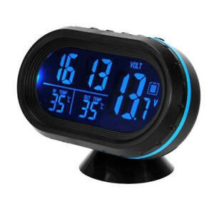 Car Lcd Digital Time Clock Thermometer Temperatures Voltmeter Led Backlight