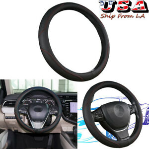 15 Black Soft Leather Steering Wheel Cover Red Stitching Sport Grip Non slip