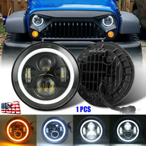 1 Pair 7 inch Round Led Headlights Halo Angle Eyes For Jeep Wrangler Jk Lj Tj Cj