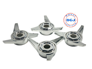 3 Bar Hex Cut Superswept Chrome Knock off Spinner Caps For Lowrider Wire Wheels