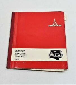 1977 Deutz Khd Small Engine Data Setting Values nr 291 1851 In 5 Languages