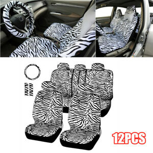 12pcs Zebra Textured Car Seat Cover With Steering Wheel Cover Shoulder Guard