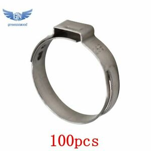 New 100pcs 1 Pex Stainless Steel Clamp Cinch Ring Crimp Pinch Fitting Tubing
