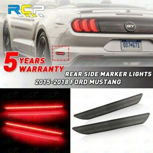 Rear Led Smoked Side Marker Reflector Lights For Ford Mustang 2015 2018 Lens Red