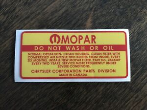 Air Cleaner Decal Do Not Wash Mopar 1968 1969 1970 1971 Dodge Plymouth