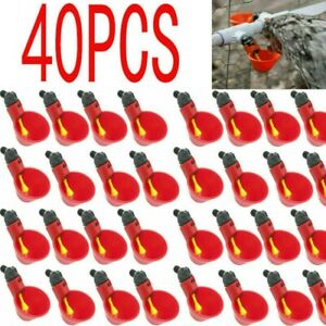 40x Poultry Water Drinking Cups Chicken Hen Plastic Automatic Drinker New Us
