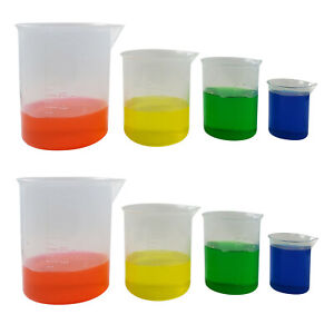 Plastic Graduated Beaker With Spout Set Of 8 100 250 500 And 1000 Ml 2 Each