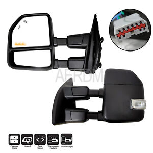 Fit For 1999 2016 Ford F250 Truck Power Heated Black Trailer Towing Mirrors Pair