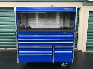 Snap On 68 Inch Epiq Tool Box Royal Blue W Hutch And Power Top