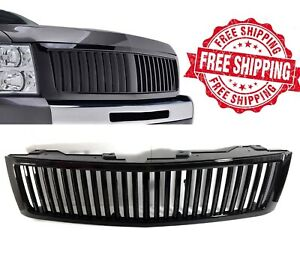 For 2007 2013 Chevy Silverado 1500 Grille Gloss Black Vertical Front Hood Grill
