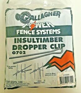 Gallagher Insultimber Dropper Fiberglass Post Clip 100 Pack Steel G702 Fence New