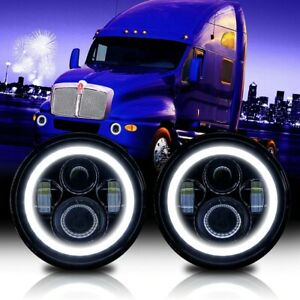 Pair 7 Inch Round Led Headlight Hi Lo Beam Drl Projector For Kenworth T2000