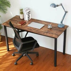 Industrial Pc Computer Desk Writing Study Table Wood Top Metal Frame Home Office