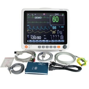 Portable Vital Sign Patient Monitor Nibp Spo2 Ecg Temp Resp Pr Touch Screen