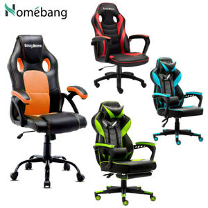 Leather Ergonomic Gaming Racing Chair Computer Desk Swivel Office Executive