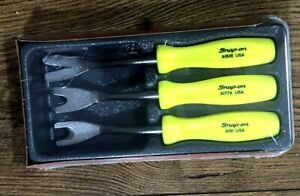 New Snap On Hi Viz Yellow 3 Piece Trim Pad Tool Set Hard Handle Asdd103hv