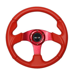 12 59 Red Pvc Leather Stitch Racing Sport Steering Wheel W Ralliart