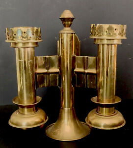 Vintage Double Church Candleholder Brass Gothic Wall Mount